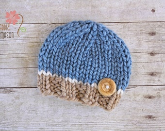 Wooly Knit Button Beanie, Newborn Photography Prop, Blue Tan and Cream with Wooden Button