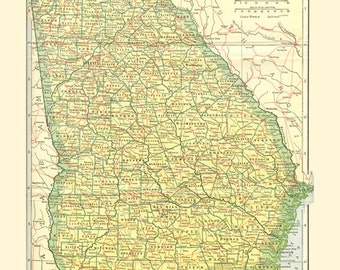 GEORGIA STATE MAP 1907 - Instant Digital Download