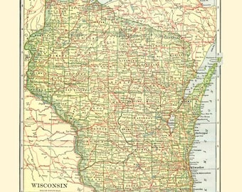 WISCONSIN STATE MAP 1935 -  Instant Digital Download