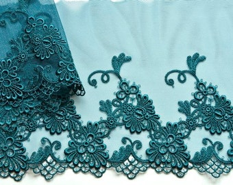 Teal Lace Trim, Dark Aqua Trim, Teal Floral Lace Dress, Teal Lace, Embellishments