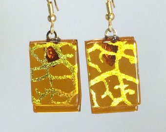 Dangling Fused Art Glass Earrings Dichroic Amber Gold Flow