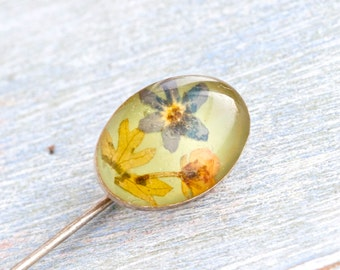 Dried Flowers Tie Pin - Oval Stick Pin - Encased Beauty