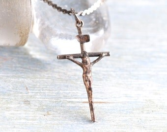 Cross Necklace Dark Sterling Silver - Oxidized Crucifix Pendant of Chain