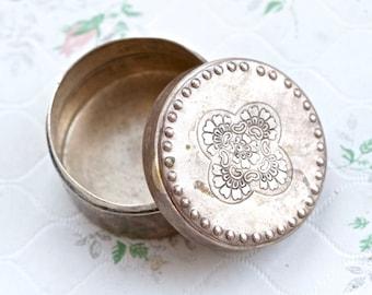 Vintage White Brass Trinket Box - Small Round Jewelry Box