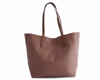 Leather Tote Bag Handbag in Vegan Leather Brown Handmade - the Hervè - sale with coupon code TRACBAG30OFF345