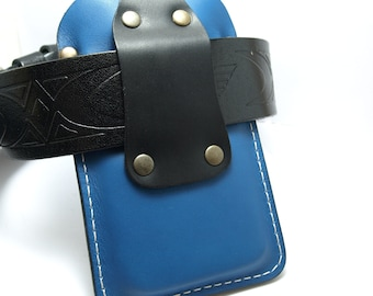 Wallet  Handmade blue leather iPhone 6 cell phone case /sleeve/ with black pocket card holder and beige thread initials belt loop