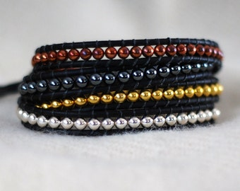 Multiple Metal Wrap Bracelet, Metal Beaded Leather Wrap - Metal Beaded Bracelet - Metal Wrap Bracelet (B323)