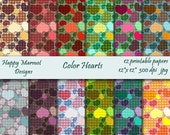 "Digital Scrapbooking Paper Printable Patterned Background - 12 printable papers -12""x12""- 300 dpi - jpg - Color Hearts"