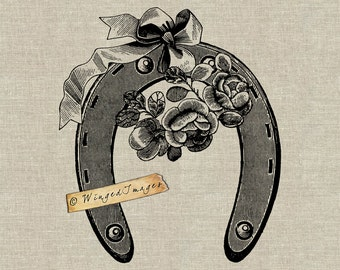 Antique Victorian Flowers Horseshoe Instant Download Digital Image No313 Iron-On Transfer to Fabric (burlap linen) Paper Prints (cards tags)