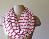 RED and WHITE Infinity Scarf - Nautical Striped Circle Scarf - Peppermint Loop Scarf - Lightweight Jersey Scarf