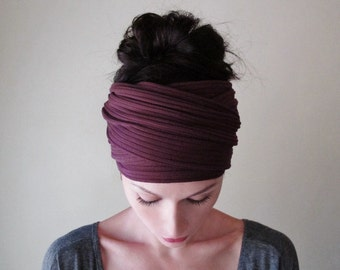 BURGUNDY Ear Warmer - Merlot Ribbed Knit Head Scarf - Extra Wide Headband - Womens Bohemian Hair Wrap - EcoShag Hair Accessories