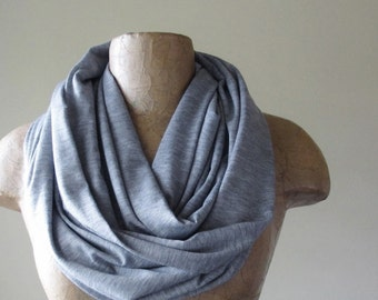 GREY Infinity Scarf - Handmade Heather Gray Infinity Loop Scarf - Lightweight Circle Scarves - Eternity Scarf