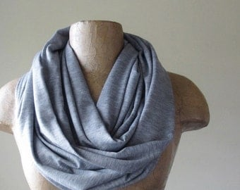 GREY Infinity Scarf - Handmade Heather Gray Infinity Loop Scarf - Lightweight Circle Scarves - Jersey Eternity Scarf