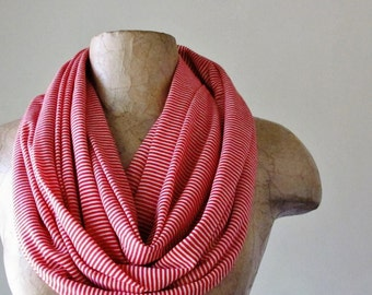 RED and WHITE Striped Scarf - Nautical Stripes Infinity Scarf - Spring Scarf with Red Stripes - Lightweight Jersey Scarf