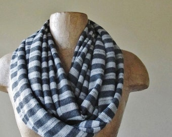 GREY Striped Infinity Scarf - Circle Scarf with Stripes - Charcoal and Heather Gray - Lightweight Sweater Scarf, Loop Scarf