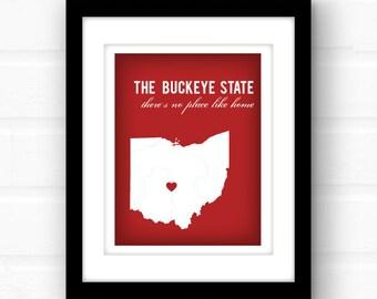 Ohio state decor   Ohio art print   Ohio print   Columbus, Ohio art   Cincinnati Ohio gift   Toledo Ohio decor   Cleveland Ohio sign