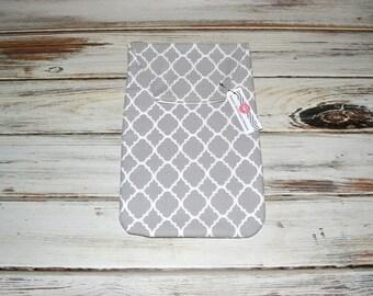 Diaper Clutch - Baby Diaper Holder Grey Quatrefoil Modern Baby Diaper Clutch