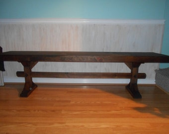 """wooden bench 60"""" trestle bench entry bench coffee table tv stand"""