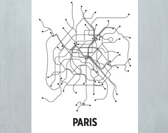 Paris Lithograph - White/Black