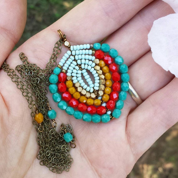 Made to Order ** You Choose Colors ** Custom Beaded Bohemian Necklace, Glass Beads, Seed Beads, Original Design