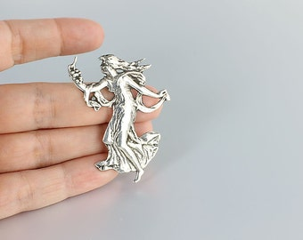 Art Nouveau Brooch, Sterling silver Greek Goddess, Bacchante Wine Goddess, Grapes vintage jewelry