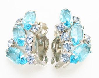 Vintage Juliana Blue Rhinestone Earrings Ear Climber