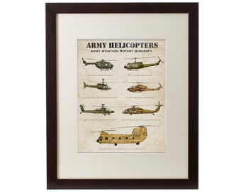 Army Aviation Helicopters archival print, rotary aircraft