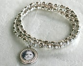 Mothers Day Bracelet, Silver Charm Bracelet, Photo Bracelet, Charm Bracelet, Stacking Bracelet, Stretch Bracelet, Photo Charm Bracelet, Gift