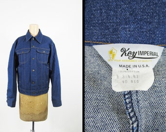 Vintage 70s NOS Denim Jacket Key Imperial Deadstock Workwear Made in USA - Men's Size 40 R