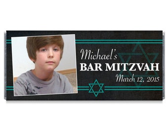 Bar Mitzvah Photo Candy Bar Wrappers Bar Mitzvah Personalized Photo Party Favors