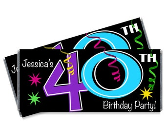 We print - 40th Birthday Candy Bar Wrappers - Adult Milestone Favors - 30th, 40th, 50th, 60th, 70th Birthday Chocolate Favors - Set of 12
