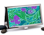 Art Nouveau Business Card Case, Credit Card Case - Purple, Green and Teal Flower Design, Handmade Card Holder or Metal Wallet