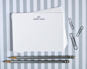 Customizable  Letterpress Notecards - Initials & Name - Set of 50