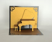 GOLD ANNIVERSARY Grand Piano Elegant 3d Pop Up CARD Home Decor Handmade Hand Cut in Gold and Bright Shimmery Metallic Black One of a Kind