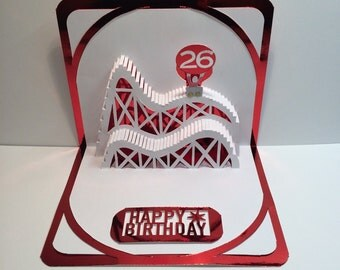 BIRTHDAY 3d Pop Up ROLLER COASTER Greeting Card Home Décor Handmade Origamic Architecture in White and Bright Metallic Shimmery Red