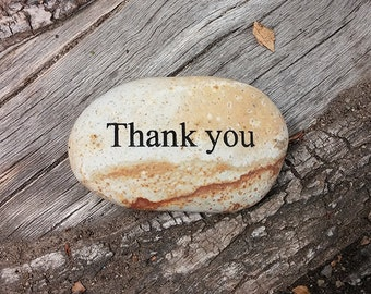 Thank you Engraved Beach Pebble Message Stone, Gift Stone, Engraved Rock