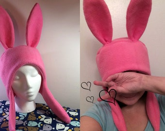 Bunny Hat Hood Cosplay Rabbit Pink Ears Costume Fleece - Any Color! Anime Manga