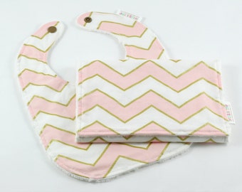 Pink and Gold Chevron Minky Baby Bib and Burp Cloth Gift Set, Baby Gift Set, Girl Baby Shower Gift, Pink Blush, READY TO SHIP