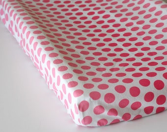 Pink Changing Pad Cover, Baby Girl Changing Pad Cover, Girl Baby Bedding, Pink Nursery Bedding, Baby Girl Nursery Pink Ombre Dot