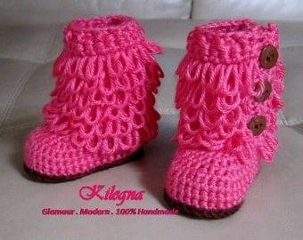 Baby Boots Crochet Hot Pink / brown pink bubble gum pink fushia Furrylicious Boots