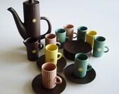 Vintage Ceramic Espresso Set Mid Century Swedish Syco Keramik Demitasse Set Espresso Shots 21 Piece Set