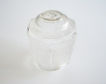 Vintage Hexagon Porch Light Glass Shade -  Mid Century Clear Glass