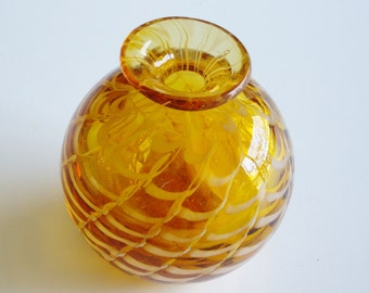 Vintage Glass Paperweight Vase Phoenician Glass Amber Fenicio