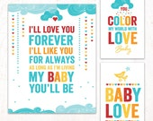 Retro Rainbow Baby Shower - Instant Download PRINTABLE Party Signs