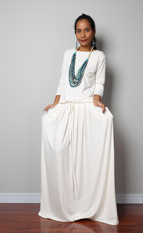 Off White Dress Long Sleeve Modest off white Maxi Dress