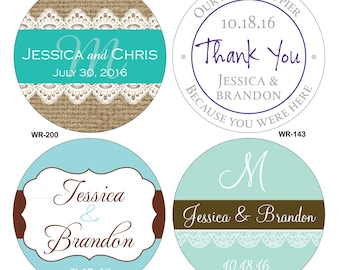 32 - 3 inch Custom Glossy Waterproof Wedding Stickers Labels - hundreds of designs to choose from - change designs to any color or wording