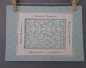 Ultrasound Frame or Mat with Bible Verse - Pale Aqua and White - Damask and Quatrefoil - Gender Neutral 5x7