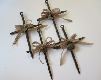 Rustic Nail Cross with Burlap and Crown Charm