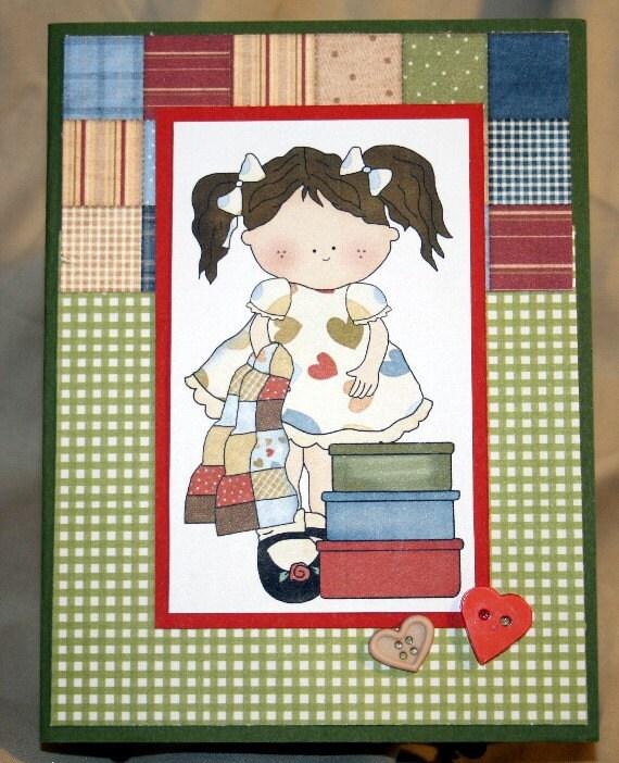 Little Quilt Girl Birthday Card 20150023