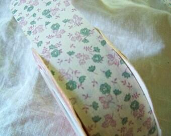 4 1/2 Yards Sweet Vintage Ribbon / Flower Ribbon / Shabby Chic Blue And Pink Ribbon / Ribbon Yardage / Robins Egg Blue Ribbon /  WFR Ribbon